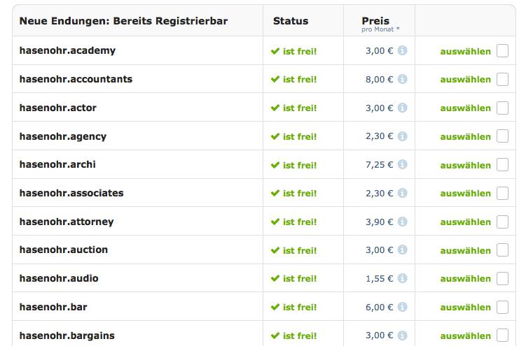 Wie wäre es mit der hasenohr.bar? Die neue Domain-Vielfalt liefert Euch schon jetzt eine lange Tabelle beim Domaincheck. Screenshot: S. Cantzler