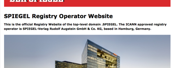 Die Registry-Seite steht schon mal: Als eines der ersten deutschen Unternehmen startet der Spiegel seine eigene Branddomain. Screenshot: spiegelregistry