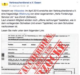 Auch auf allen Social Media-Plattformen vertreten: Der Verbraucherdienst. Screenshot: S. Cantzler