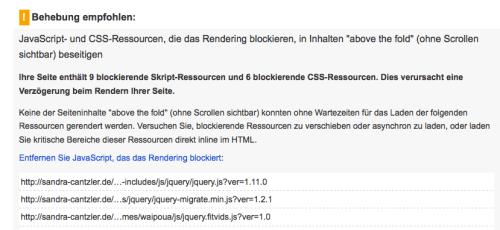 """Wird das Rendering durch im Quellcode falsch positionierte JavaScript- und CSS-Dateien blockiert, verlängert sich die Ladezeit für den Bereich above the fold. Erst im Anschluss werden Stück für Stück die Inhalte """"von oben nach unten"""" geladen. Screenshot: S. Cantzler"""