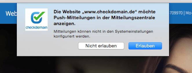 Push Notification erhalten oder nicht? Auch das checkdomain-team bietet seit kurzem diesen neuen Service. Screenshot: S. Cantzler