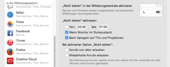 Alles auf einen Blick: In der Mitteilungszentrale könnt Ihr sehen, von welchen Seiten Ihr Push Notifications bekommt. Screenshot: S. Cantzler