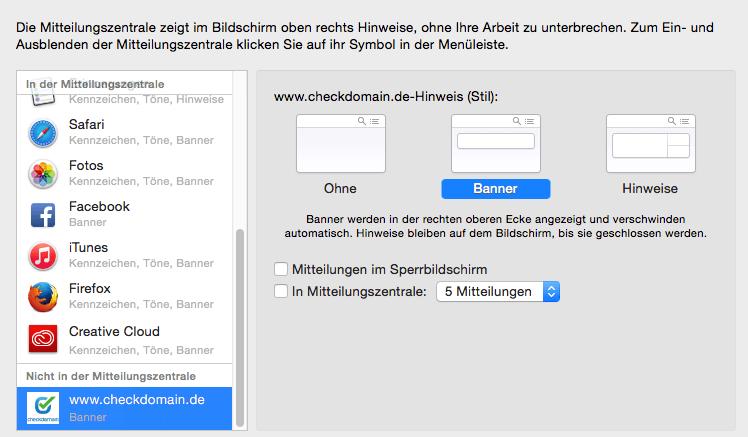 Einfach abonniert, einfach abbestellt: Auf dem Mac läuft das über die Mitteilungszentrale. Screenshot: S. Cantzler