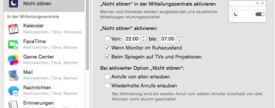 """""""Ruhe bitte"""": Gar kein Problem - die Nicht-Stören-Funktion ist mit wenigen Klicks aktiviert. Screenshot: S. Cantzler"""