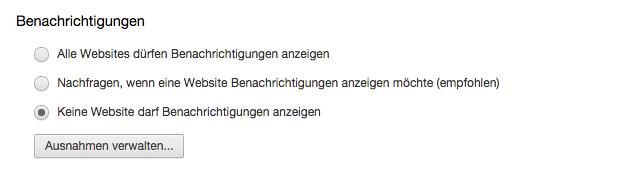 Keine Lust auf Push Notifications? Dann setzt den Haken an der entsprechenden Stelle! Screenshot: S. Cantzler