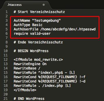 WordPress htaccess-Datei inkl. Verzeichnisschutz