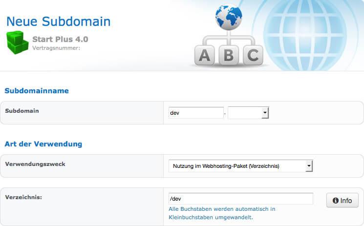 Subdomain im checkdomain-Kundenbereich anlegen und auf eingenes Verzeichnis verweisen.