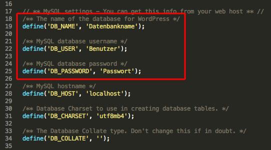 Datenbank-Zugang in der wp-config.php anpassen