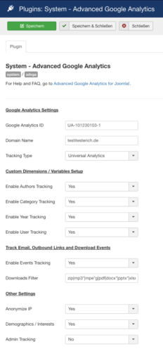 Einstellungen Advanced Google Analytics