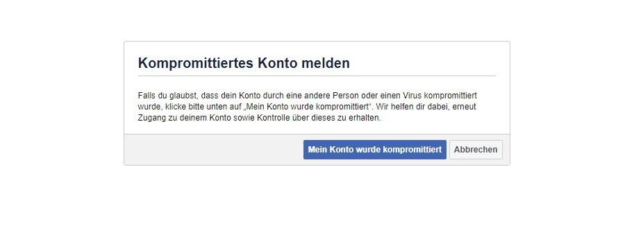 Gehacktes Konto bei Facebook melden