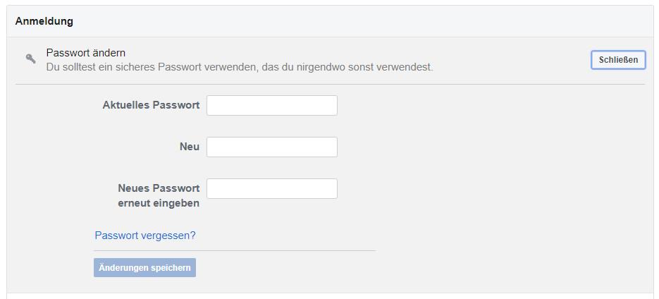 Passwort-vergessen-Funktion bei Facebook