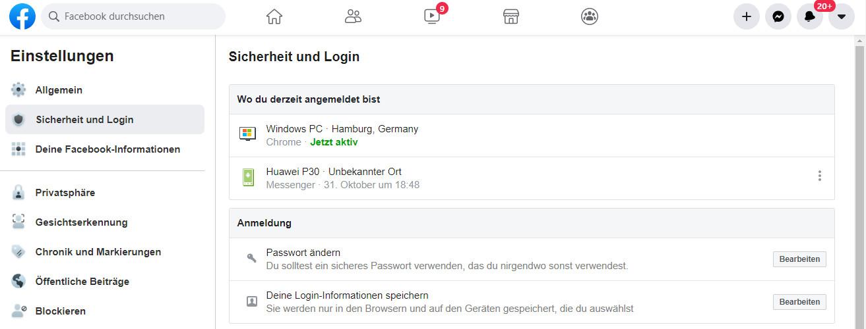 Sicherheitsmenü von Facebook