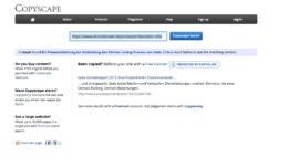 Screenshot von Copyscape mit einem Ergebnis