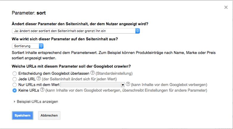 Ein Screenshot aus der Google Search Console der zeigt, wie man einen Parameter (sort) ausschliesst