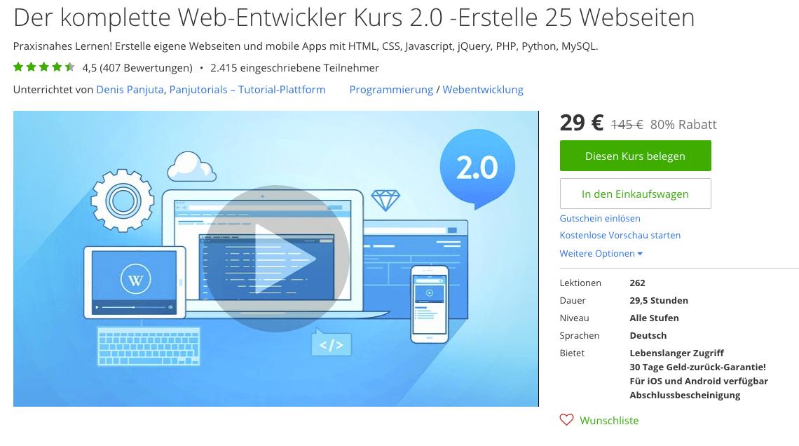 (Fast) alles, was ein Web-Entwickler können muss: Auf udemy.com wirst Du in 261 Video-Lektionen vom Einsteiger zum Profi. Screenshot: udemy.com