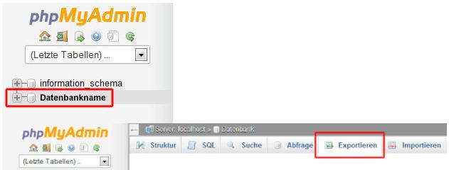 MySQL mit phpmyadmin exportieren