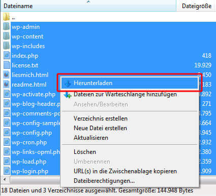 WordPress Dateien per FTP sichern
