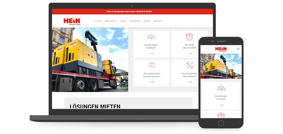 Screenshots der Website hein.rent auf einem Smartphone und einem Laptop