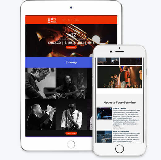Band Templates, iPad und iPhone Ansichten, Homepage-Baukasten