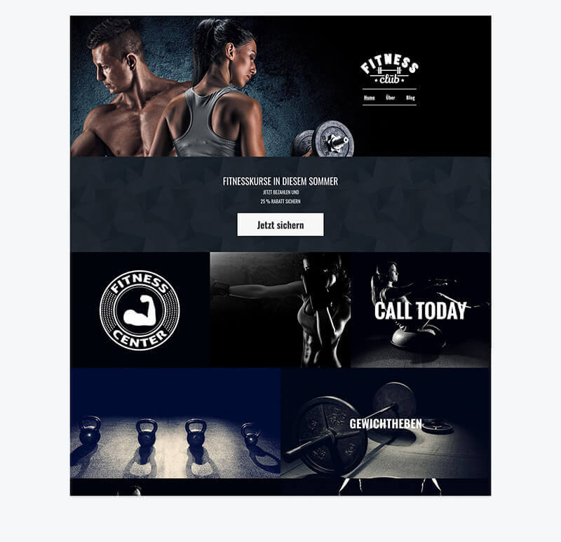 Homepage Baukasten, Fitness-Blog, Fitness-Template