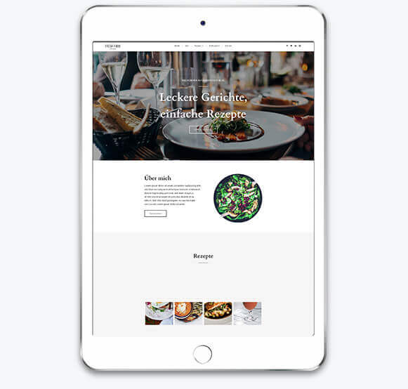 Homepage-Baukasten, Food Blog Template auf einem Tablet