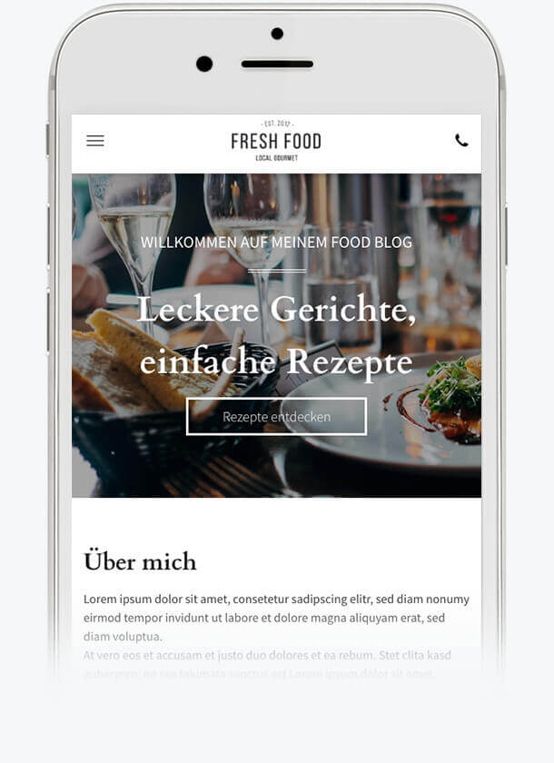 Homepage-Baukasten, Food Blog Vorlage auf dem iPhone