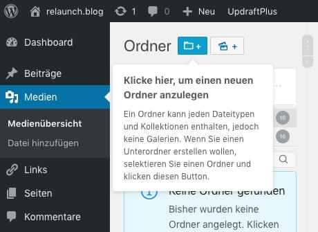 Neuen Ordner in WordPress anlegen
