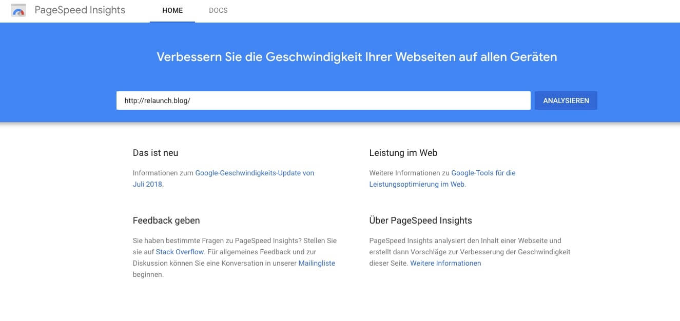 PageSpeed Insights - URL analysieren