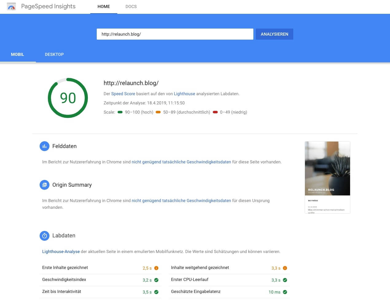 PageSpeed Insights - Neuer Speed Score