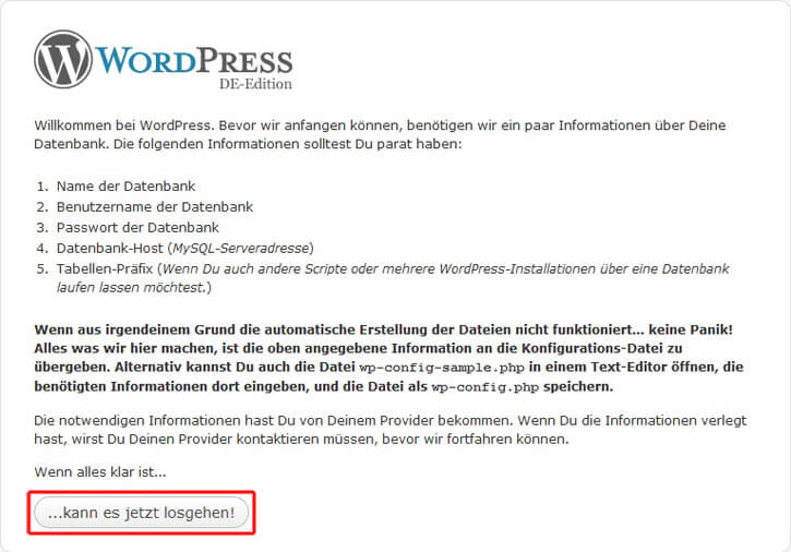 Wordpress, Starten der WordPress-Installation