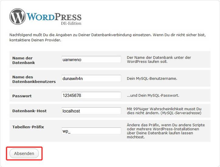 Wordpress, MySQL-Zugangsdaten eintragen
