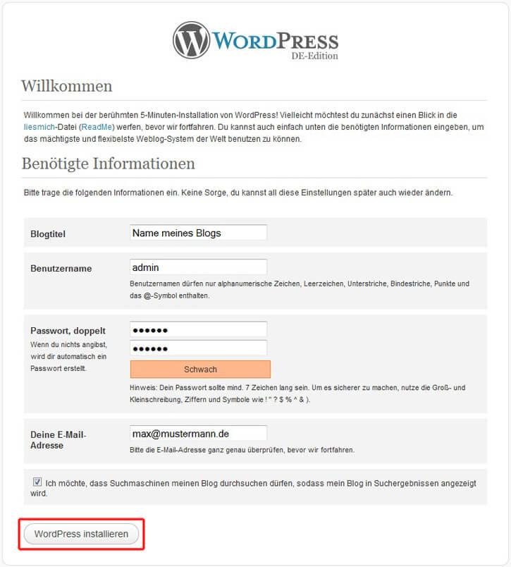 Wordpress, Zugangsdaten einrichten