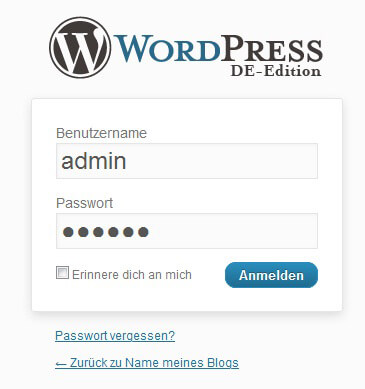 Wordpress, WordPress-Installation abschließen